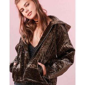 Urban Outfitters Quilted Velvet Olive Jacket With Hood